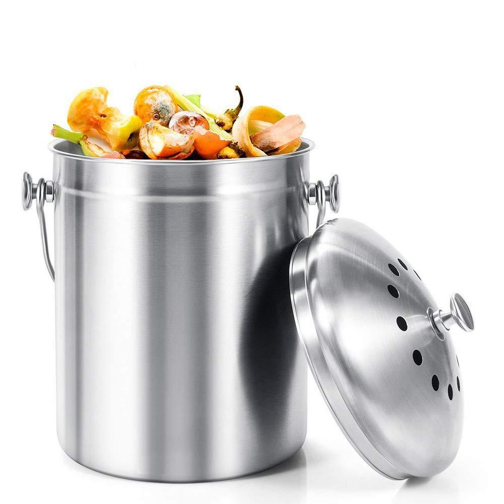 【即出荷】 堆肥ビンコンテナステンレス鋼キッチンデスクトップリサイクルゴミ箱は、ステンレス鋼の蓋臭-停止を含めることができます-屋内カウンターキッチンリサイクルビンペール   B07QLFBT1T, 当麻町 afbd6767