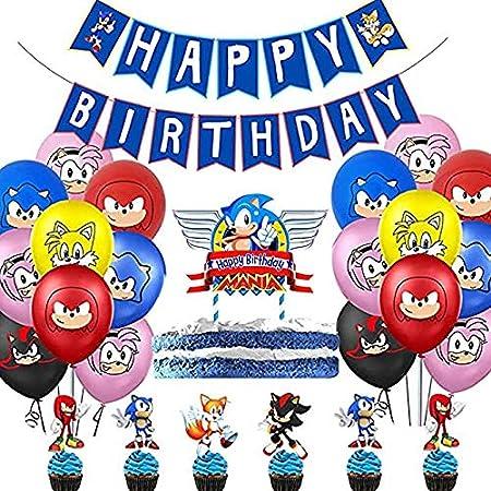 Vercico Fiesta Cumpleaños, Decoración Conjunto de Banderín Feliz de Dibujos, Bandera, Globos, Torta de cumpleaños, Conjunto de Copa: Amazon.es: Hogar
