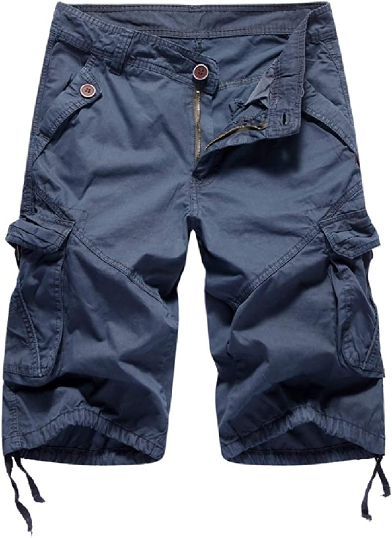 DressUMen Multi Pockets Mid-Length Mid Rise Solid Cargo Pants Shorts