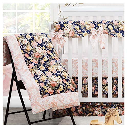 Brandream Baby Girls Crib Bedding Sets with 2 Packs Crib Sheets 100% Cotton Soft Nursery Bedding Set 4 Pieces, Navy and Pink, Rose Floral Printed