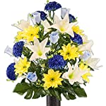 Yellow-Gerbera-and-White-Lily-Mix-Artificial-Bouquet-featuring-the-Stay-In-The-Vase-Designc-Flower-Holder-LG2172