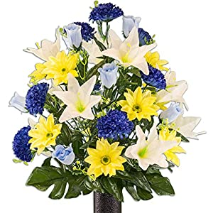 Yellow Gerbera and White Lily Mix Artificial Bouquet, featuring the Stay-In-The-Vase Design(c) Flower Holder (LG2172) 75
