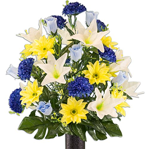 Ruby's Silk Flowers Yellow Gerbera and White Lily Mix Artificial Bouquet, Featuring The Stay-in-The-Vase Design(c) Flower Holder (LG2172) ()