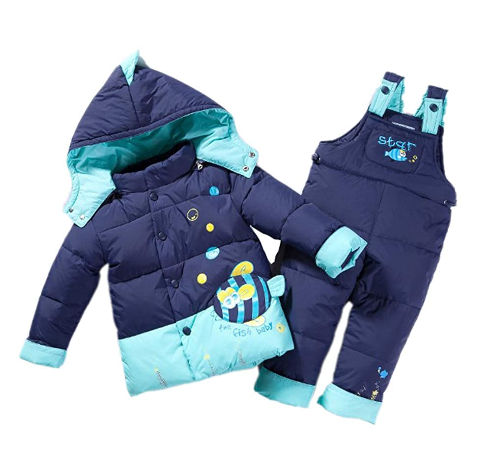 85511d353a21 Unisex Infant Toddler Baby Boys Girls Winter Warm Cartoon Down Coat Cock Puffer  Jacket Hoodie Snowsuit Thick Snow Bib Pants 2 Pieces Skiing Set Outwear