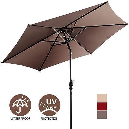 Amazoncom Giantex 10ft Outdoor Solar Patio Umbrella Market Table