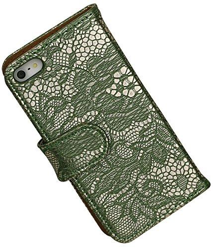 MobileFashion Dentelle Book Cases pour Iphone 5/5s Portefeuille Case Cover Booktype avec Slots pour cartes