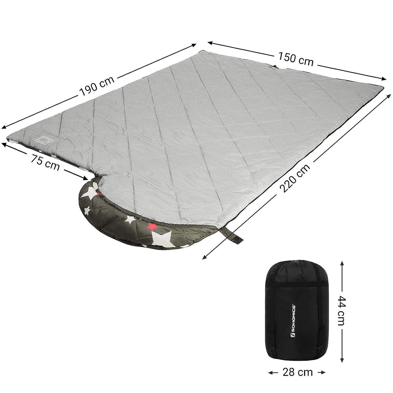 Confort Temp Verde GSB20WJ Caminata 5-15/°C SONGMICS Saco de Dormir con Saco de Compresi/ón para Camping Ligero con Patr/ón de Estrellas para 4 Estaciones Port/átil Compacto