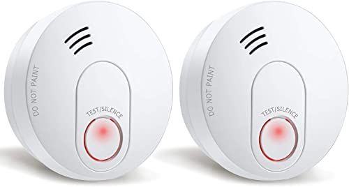 SITERWELL Smoke Detector, 10 Year Smoke Alarm with Photoelectric Sensor and Built-in Battery, Fire Detector with Low Battery and Fault Warning for House and Bedroom, UL Listed, GS526A, 2 Pack