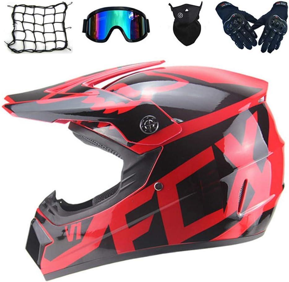 オートバイクロスヘルメット女性用、モトクロスヘルメットセット(4個)、ゴーグルグローブマスク、フルフェイスマウンテンバイクヘルメットバイクオフロードクラッシュヘルメット、2スタイル,赤、S