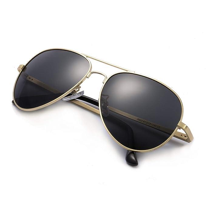 SODQW Gafas de Sol Hombre Aviador Polarizadas Clásico Metal Para Protección 100% UVA/UVB