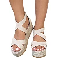 Syktkmx Womens Flatform Espadrille Strappy Open Toe Flat Platform Ankle Sandals