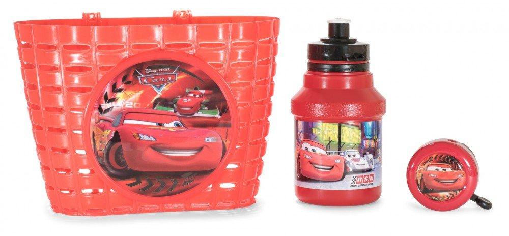 Disney Cars Juego de bicicleta 3 piezas con cesta de bicicleta, timbre y botella: Amazon.es: Bebé