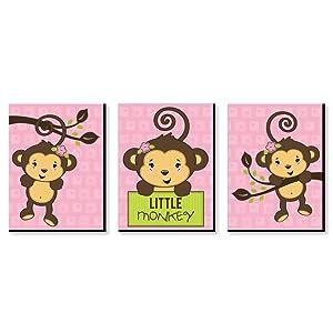 """Pink Monkey Girl - Baby Girl Nursery Wall Art & Kids Room Decor - 7.5"""" x 10"""" - Set of 3 Prints"""
