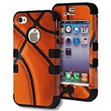 iPhone 4 Case, Bastex Heavy Duty Hybrid Case - Soft Black Silicone Cover Hard Basketball Design Case for Apple iPhone 4, 4g, 4s 4gs