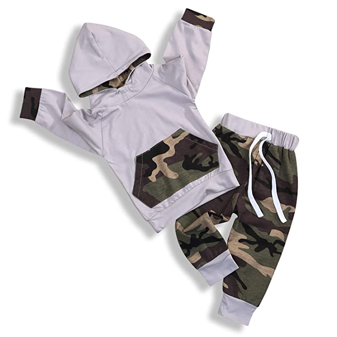 cc99a67c4f8 GRNSHTS Newborn Infant Baby Boy Girls Camouflage Clothes Hooded T-Shirt  Tops+Pants Outfits