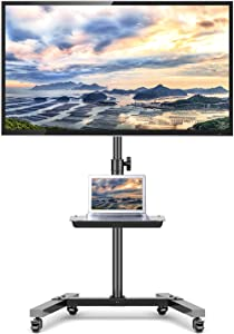TAVR Mobile TV Cart on Wheels for 23-55 Inch LCD LED OLED Plasma Flat Screen TVs,Portable tv Stand with Height Adjustable and Laptop Shelf, Rolling Floor Stand Holds Up to 88lbs Max VESA 400x400mm