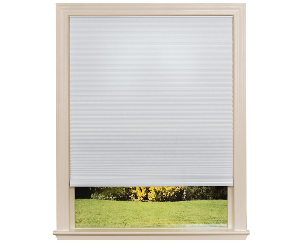 Easy Lift Trim-at-Home Cordless Cellular Light Filtering Fabric Shade White, 48 in x 64 in, (Fits windows 31''- 48'')