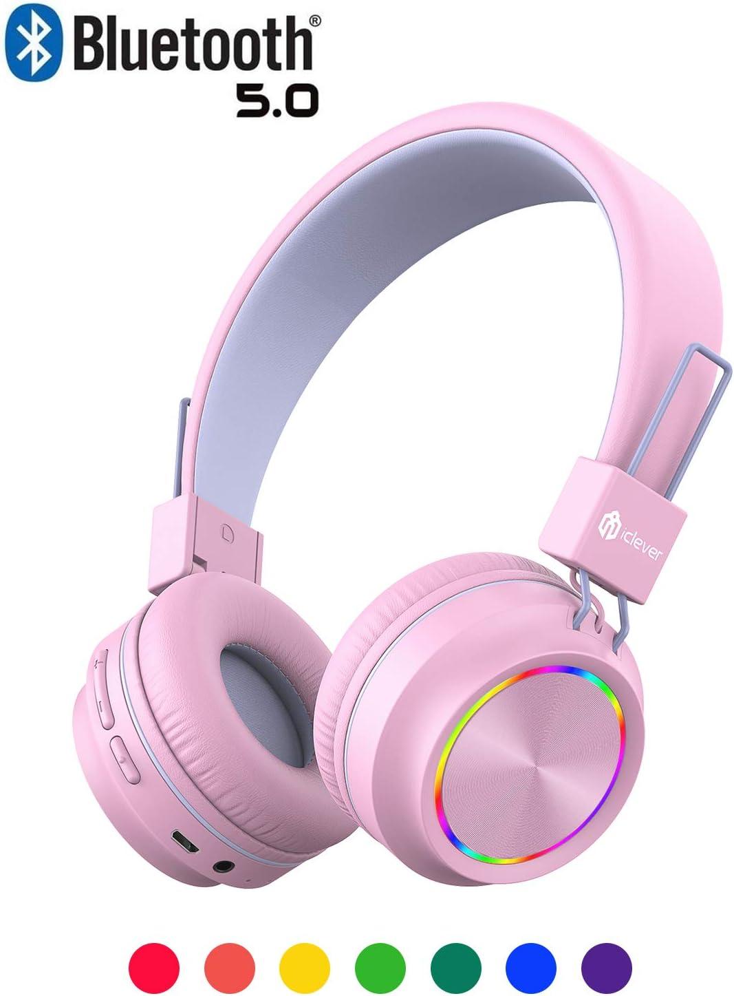 Auriculares led bluetooth 5.0 inalambricos kids rosa