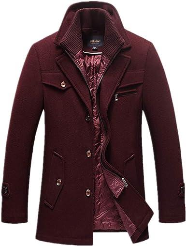 TALLA UK Medium(Pecho 97 cm). HZCX FASHION Abrigo de guisante acolchado para hombre con forro de lana