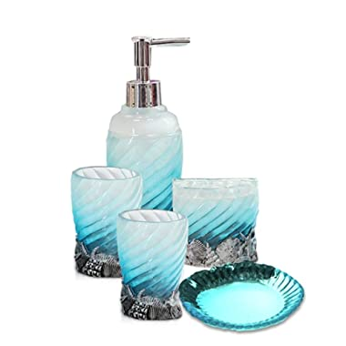 Creative Scents 5 Piece Bathroom Accessory Set, Hotsan Bath Ensemble Set Includs Soap Dispenser, Soap Dish, Tumble, Toothbrush Holder - White & Blue Polyresin Glass for Home, Office, Superior Hotel