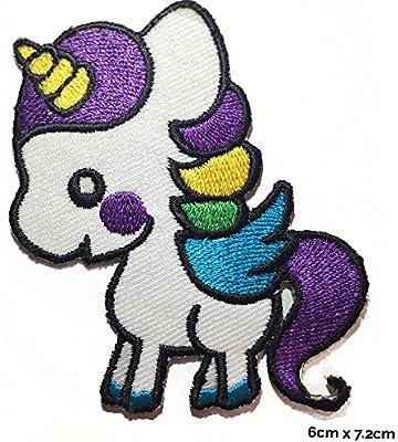 Pequeño unicornio parche bordado hierro Sew en ropa chaqueta ...