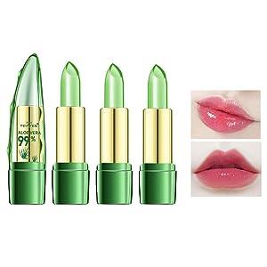 Aloe Vera Lipstick, Clear Jelly Lipsticks, Long Lasting Nutritious Lip Balm, Lips Moisturizer Magic Temperature Color Change Lip Gloss (3 Pack)