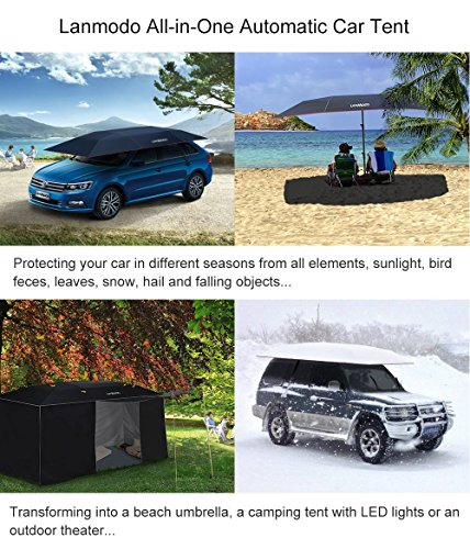 LANMODO Car Tent, Automatic Car Umbrella with Anti-UV, Water-Resistant, Proof Wind, Snow, Storm, Falling Objects Features, Fit to All Cars (BLACK/SILVER/BLUE) by Lanmodo (Image #1)