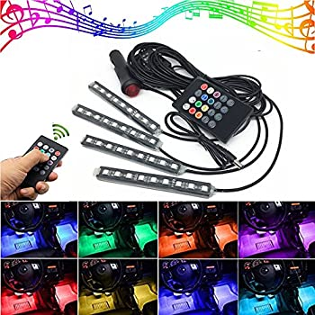possbay multi color 8 color rgb car led interior underdash lighting kit with sound. Black Bedroom Furniture Sets. Home Design Ideas