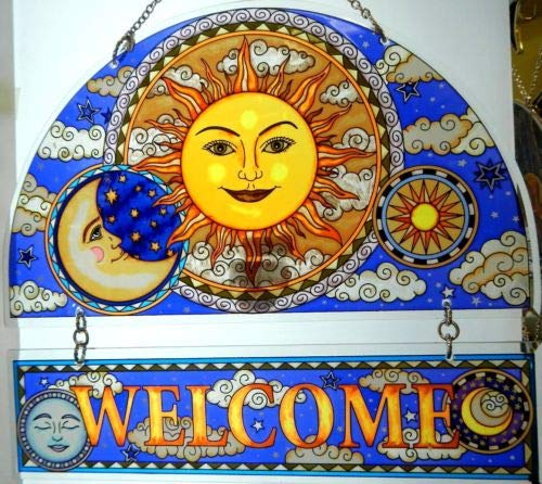 Stained Glass Suncatcher 12'' X 11'' Celestial Harmony Sun Welcome