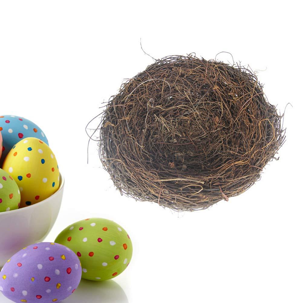 BESTOYARD Country Style Simulation Twig Bird Nest Handmade Easter Rattan Nest Creative Decoration for Home Garden 15cm