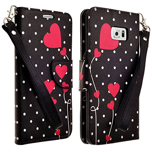 Price comparison product image VanGoddy Wallet Carrying Case for Samsung Galaxy S6 Edge+,  Polk a Dot Hearts