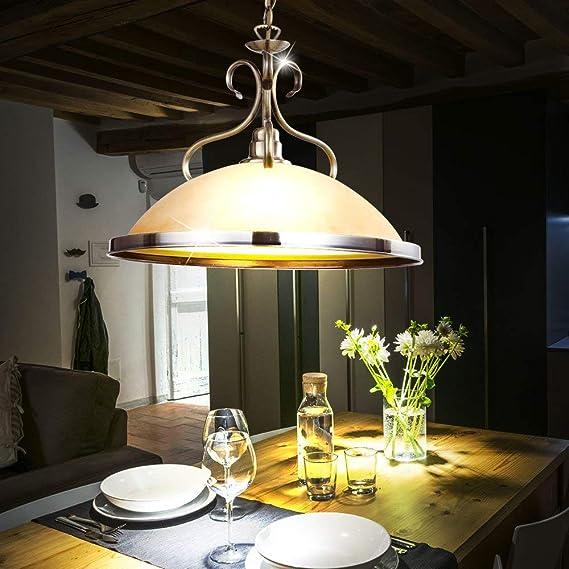 LED Holz Pendel Lampe Wohn Zimmer Hänge Beleuchtung Glas Decken Leuchte amber