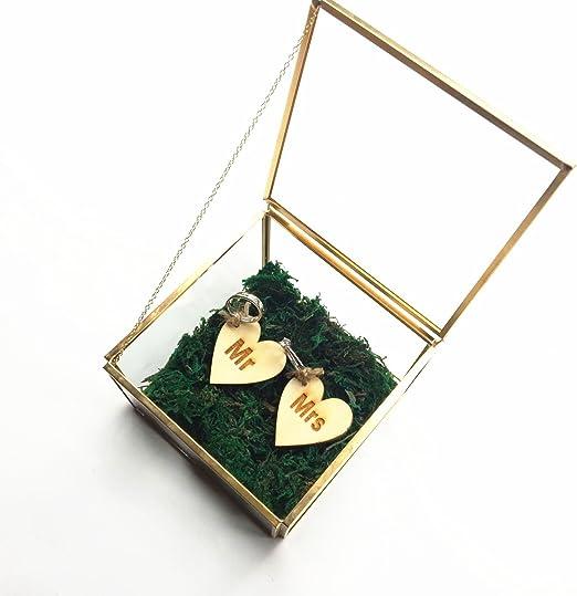 mylifemylove - Caja de anillos de boda rústica, caja de cristal ...