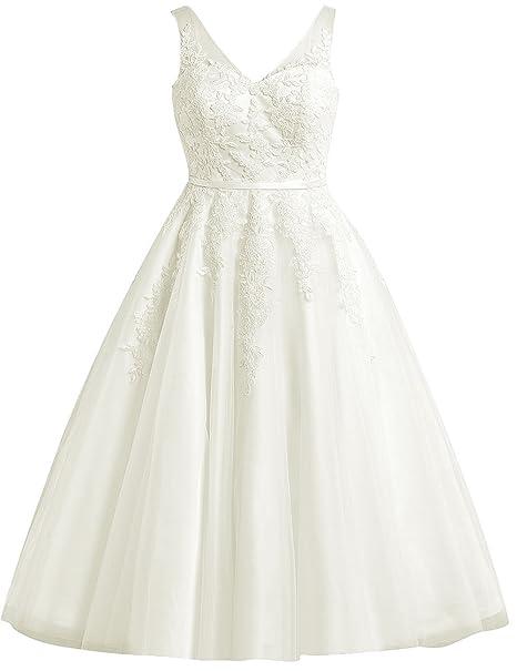EDressy Women\'s Short Wedding Dresses Lace Applique Tulle ...
