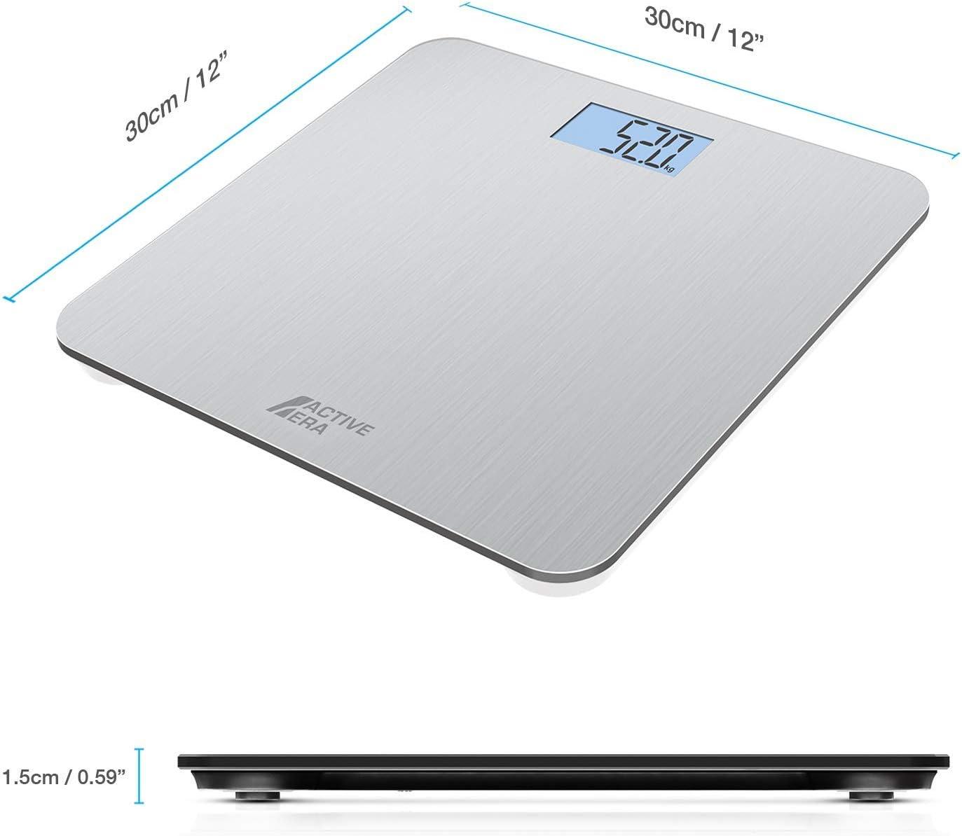 Active Era™ Báscula de Baño Digital Ultrafina con Sensores de Alta Precisión (stones/kgs/libras) - Acero: Amazon.es: Salud y cuidado personal