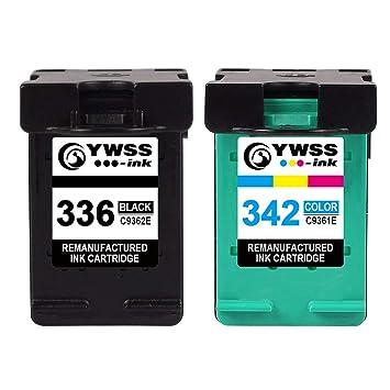 YWSS Remanufacturado Cartucho de Tinta para HP 336 HP 342 HP336 342 Alto Rendimiento Cartucho de Tinta (1 Negro +1 Tricolor) C9362E /C9361E para HP ...