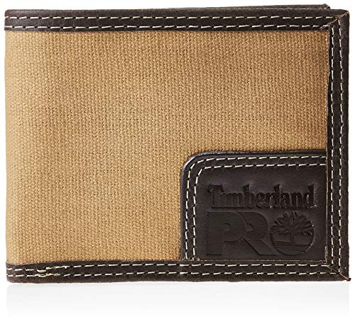 Timberland PRO Men's Canvas Leather RFID Billfold Wallet with Back Id Window