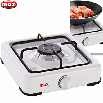Hornillo de acampada 1 fuego placa blanco cocina portátil 700010857 Max Casa: Amazon.es: Hogar