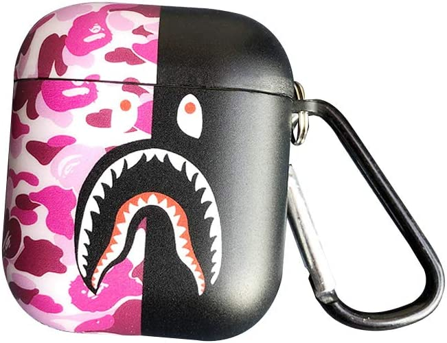 Shark Teeth Softshell Silicone Camouflage Airpods 1 Case, IMD Case Shockproof Case Skin with Key Ring, Suitable for Apple Airpods 2 (AirPods 1/2, Pink/Black)