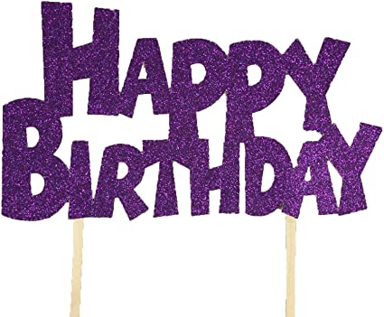 Amazon Com Dreampartycreation Happy Birthday Glitter Front Cake Topper Boink Font 3 1 2 Tall By 6 Wide Plum Purple Health Personal Care
