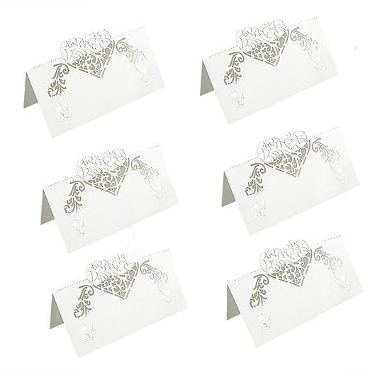 Tarjetas de Mesa, 50 piezas Tarjeta Mesa Nombre Boda Tarjetas de Corazones de Amor Corazones con Corte láser Número de Mesa para la Boda de Fiesta