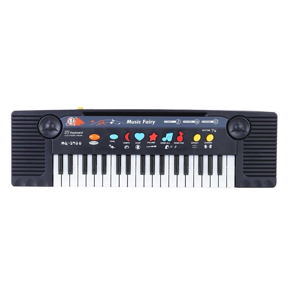 Juguete de la Música de 37 Teclas Multifunción Mini Teclado Electrínico con Micrófono Electone Regalo para Niños Principiantes Andoer