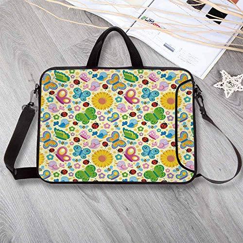 Nursery Anti-Seismic Neoprene Laptop Bag,Spring Themed Vivid Colored Seasonal Elements Blooming Flowers Ladybugs Bees Birds Decorative Laptop Bag for Travel Office School,17.3