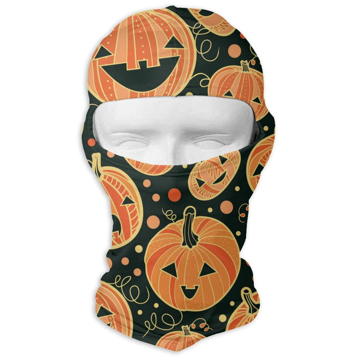 Men & Women Winter Balaclava Pumpkin Patterns Windproof Helmet Liner Mask Polyester Multipurpose Head Wrap for Motorcycle, Snowboard, Cycling, Sports