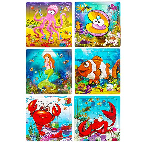 Wooden Puzzles for Kids Ages 2-5, Aitey Toddler Jigsaw Puzzles 20 Pieces Preschool Educational Learning Toys Set Ocean Puzzles for 2 3 4 5 Years Old Boys and Girls (6 Puzzles)