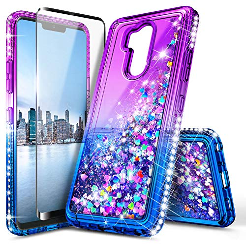 Alcatel 7 Case, Revvl 2 Plus Glitter Case (T-Mobile) with Full Cover Tempered Glass Screen Protector, NageBee Liquid Quicksand Waterfall Flowing Sparkle Bling Diamond Girls Kids Cute Case -Purple/Blue