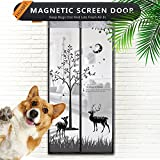Magnetic Screen Door with Heavy Duty -Mesh Curtain - Keeps Mosquitoes Out, Full Frame Velcro Fits Door Size up to 34'' X 82'' Max- Black (elk Pattern)