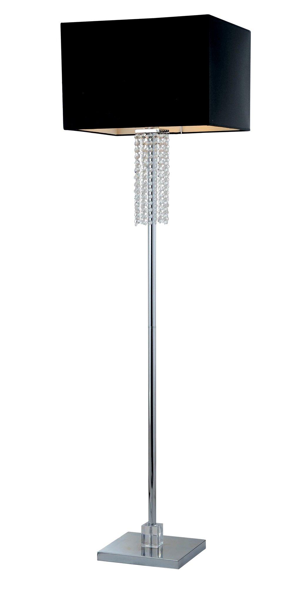 Artiva USA A501101 Adelyn Square Modern Crystal Floor Lamp, 63'', Chrome/Black by Artiva USA