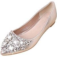 Modaworld scarpe☀️ Scarpe Donna Ballerine Casual Bocca Superficiale Diamante Partito Sera Scarpe Singole Piatto Elegante Ballerine Flat Scarpe-Ballerine Classiche