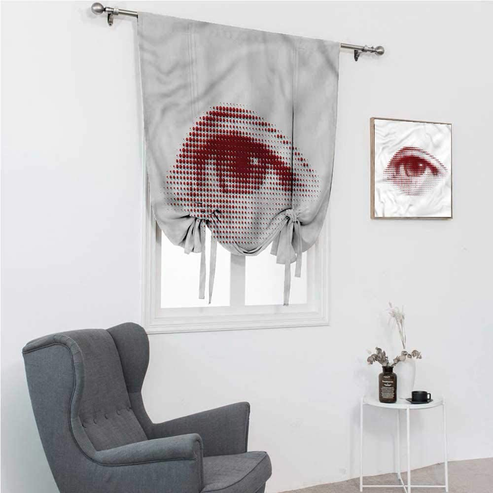 """Tie Up Curtains for Windows Eye Tie Up Shades for Windows Retro Halftone Dotted Shape 39"""" Wide by 64"""" Long"""